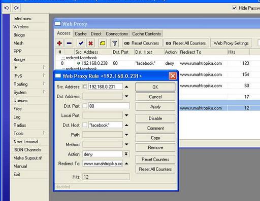 Blok Website Menggunakan Web Proxy Mikrotik
